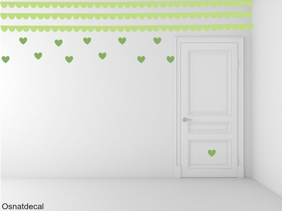 FREE SHIPPING Border Wall Decal & Hearts.Colors Pastel Green And Green. Nursery  Decal. Vinyl Wall Decal. Home Decor. Decals. Housewares.