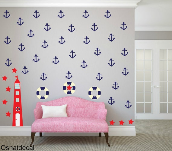 FREE SHIPPING Wall Decal, Lighthous,Float, Anchor,Stars.80 Wall Decal. Red & Blue . Nursery Wall Decal. Children Decal. Wall Sticker.