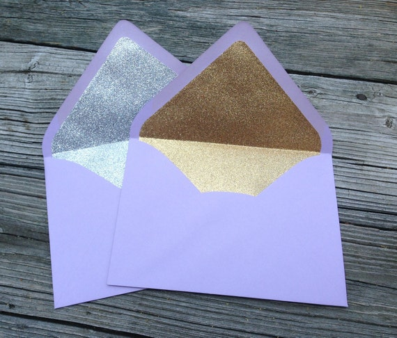 purple a7 5x7 gold or silver glitter lined envelopes plum