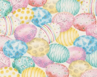 Easter Eggs Fabric, Robert Kaufman D71249 Pastel Eggs, Easter Quilt Fabric, Easter Fabric, Pink, Turquoise, Yellow, Aqua, Cotton