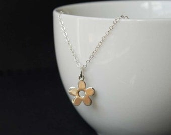 Sterling Silver Flower Charm Necklace, Petite Flower Charm Necklace