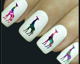 Nail tattoos etsy animal nail decal giraffe nail art 20 water slide decals fingernail decals nail tattoos nail transfers prinsesfo Image collections