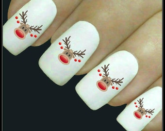 Christmas Nail Decal Reindeer Nail Art 20 Water Slide Decals Nail Stocking Stuffer Fingernail Decals Nail Tattoos Nail Transfers