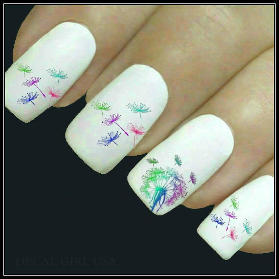 Flower nail decal dandelion nail art 20 water slide decals like this item prinsesfo Choice Image