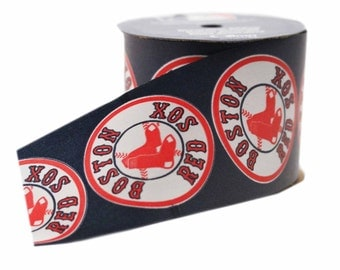 Offray MLB Boston Red Sox Fabric Ribbon, 2-1/2-Inch by 9-Feet, Blue/Red