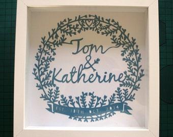Wedding or Anniversary Framed Papercut Wreath