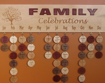 Carved Family Celebration Board -  Family Birthday Board  Anniversary Calendar with Paduak Family & Carved Tree