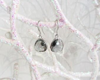 Bezel Charcoal dangle earrings/drop earrings/dangle earrings