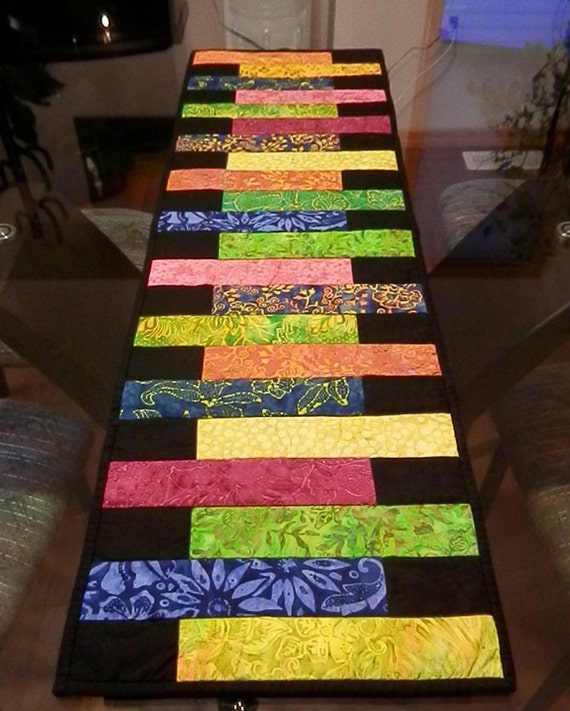 Batik Quilted Table Runner In Tropical Colors Reversible To