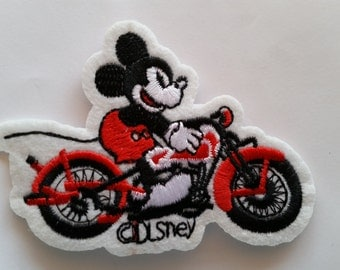 Mickey Mouse Riding the Bike Motorcycle iron on patch