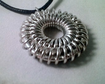 Sunburst Chainmaille Necklace, Chainmaille Necklace, Unique Chainmaille Necklace, Gifts for Her, Black and Silver Necklace, Unique Necklace