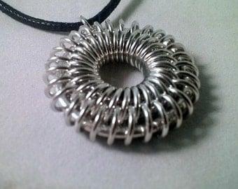 handmade sunburst chainmaille necklace