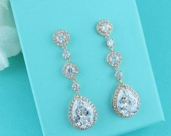 Rose Gold Bridal earrings, CZ earrings, gold wedding jewelry, bridal jewelry, rose gold wedding earrings, Adeline Rose Gold Long Earrings