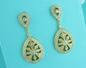 Gold Art Deco earrings, cubic zirconia earrings, art deco wedding earrings, bridal jewelry, wedding earrings, bridal earring 228527895