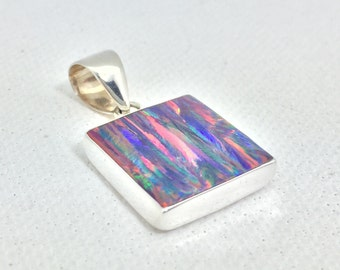 Black Fire Opal Pendant // 925 Sterling Silver // Square Red Opal Pendant // October Birthstone