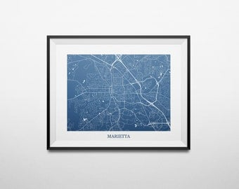 Marietta, Georgia Abstract Street Map Print