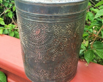 Antique Primitive Embossed Tin  Canister