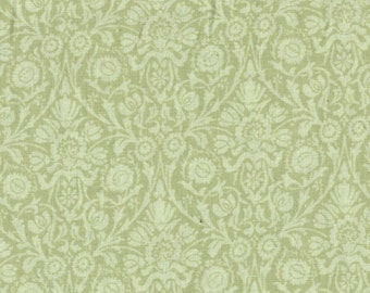 CLEARANCE by the Piece 8 Yards Green Damask Print Fabric Reproduction Historical Quilting Cotton Doll Clothes Past Crafts 17th 18th Century