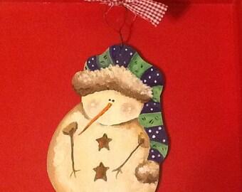 snowman ornament, primitive snowman ornament, rustic snowman ornament, christmas snowman ornament, christmas ornament, snowman gift tag