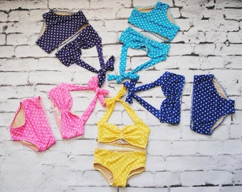 Itsy bitsy teeny weeny polka dot mid rise bikini baby girl swimsuit ~ Choose your color