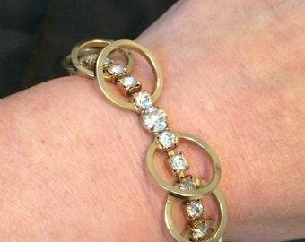 Vintage Signed Sarah Coventry Gold Tone Rhinestone Bracelet