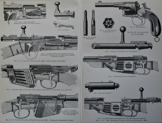 Weapons print. Guns. Revolver, rifle.  Old book plate, 1897. Antique illustration. 118 years lithograph. 11'7 x 9'2 inches.