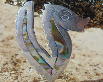 Beto ~ Taxco Sterling Silver and Abalone Vintage Seahorse Brooch