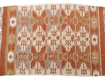 "SALE! Org 695.00 Vintage Turkish silky  kilim with geometric design in soft earth tones 58"" X 40"""