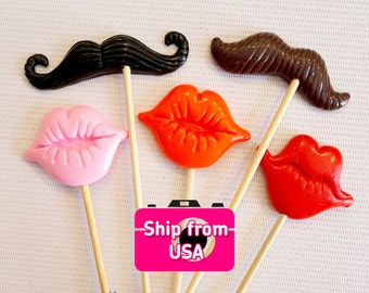 5Pc Photobooth Props, Polymer Clay Lips and Mustache Props, Photo Props, Wedding Photo Booth props, Birthday Photo Booth Props
