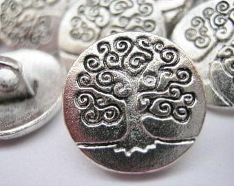 """6 Tree of Life Metal Shank Buttons 15mm (5/8"""") Silver Tree Carved Buttons Knitting Sewing Clothes Accessories"""