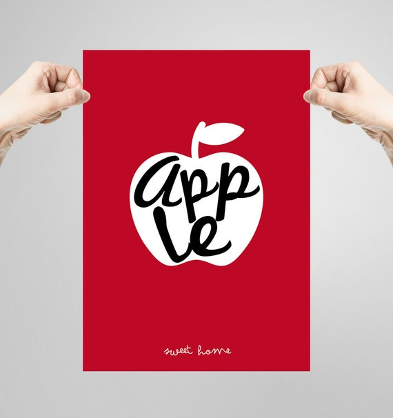 Wall art decor. Picture Apple. Printable art. Ilustration. Digital print. Instant digital download