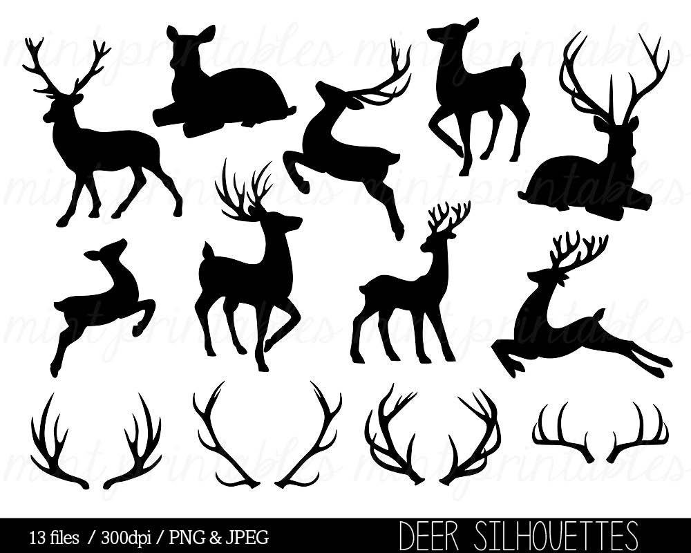 Deer Clipart Deer Silhouette Clip Art Antler Clipart Antler