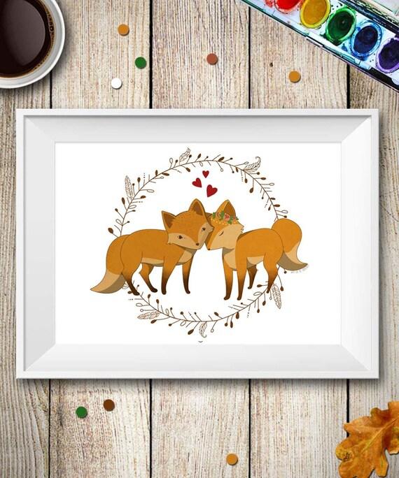 Fox Wall Art Print Fox Couple In Love Kids Room Decor Baby Animal