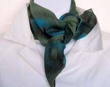 Hand painted silk scarf with 37% wool, green and blue.  Scarf, handpainted silk and wool, small.  Neckerchief or bandana, green and blue.