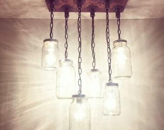 Rustic/Industrial/Modern Handmade Mason Jar Chandelier/Kitchen Lighting/Pendant Light/Kitchen/Bar/Farm/Cottage/Farm House/Lighting