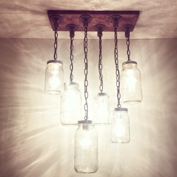 Rustic industrial modern handmade mason jar chandelier for Hanging lights made from mason jars