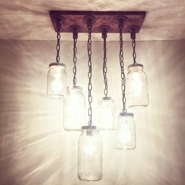 Mason Jar Chandelier: Rustic Industrial Modern Handmade Mason Jar Chandelier