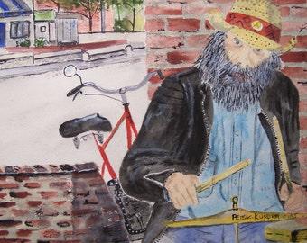 """watercolor painting,painting of drummermusic scene, watercolor, 8""""x10.25"""", watercolor painting, drummer, city scene, street performer"""