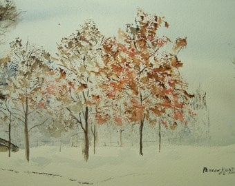 """Watercolor painting,painting of autum trees,scenic painting,art and collectibles,Imagine That"""",scenic, , autumn trees, autumn, snow, winter"""