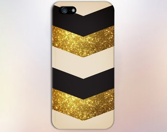 Gold Glitter Black Beige Chevrons Designer Case,iPhone 7, iPhone 7 Plus, Tough iPhone Case, Galaxy s8 Samsung Galaxy Case Note 5 CASE ESCAPE