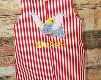 Dumbo Jon,Circus Dumbo Jon,Boy Birthday Jon,Applique Embroidered Jon Shortalls