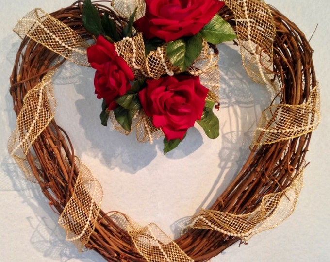 Grapevine Wreath • Red Roses Adorn a Heart Shaped Grapevine Wreath • Gold Ribbon and Pearl Accents • Crafts by the Sea