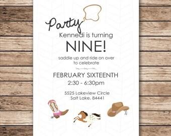 Cowgirl Birthday Party Digital Invitation