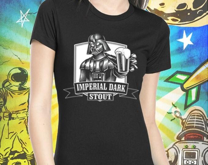 Darth Vader Women's Jet Black Imperial Dark Stout Craft Beer T Shirt Star Wars Beer Tshirt