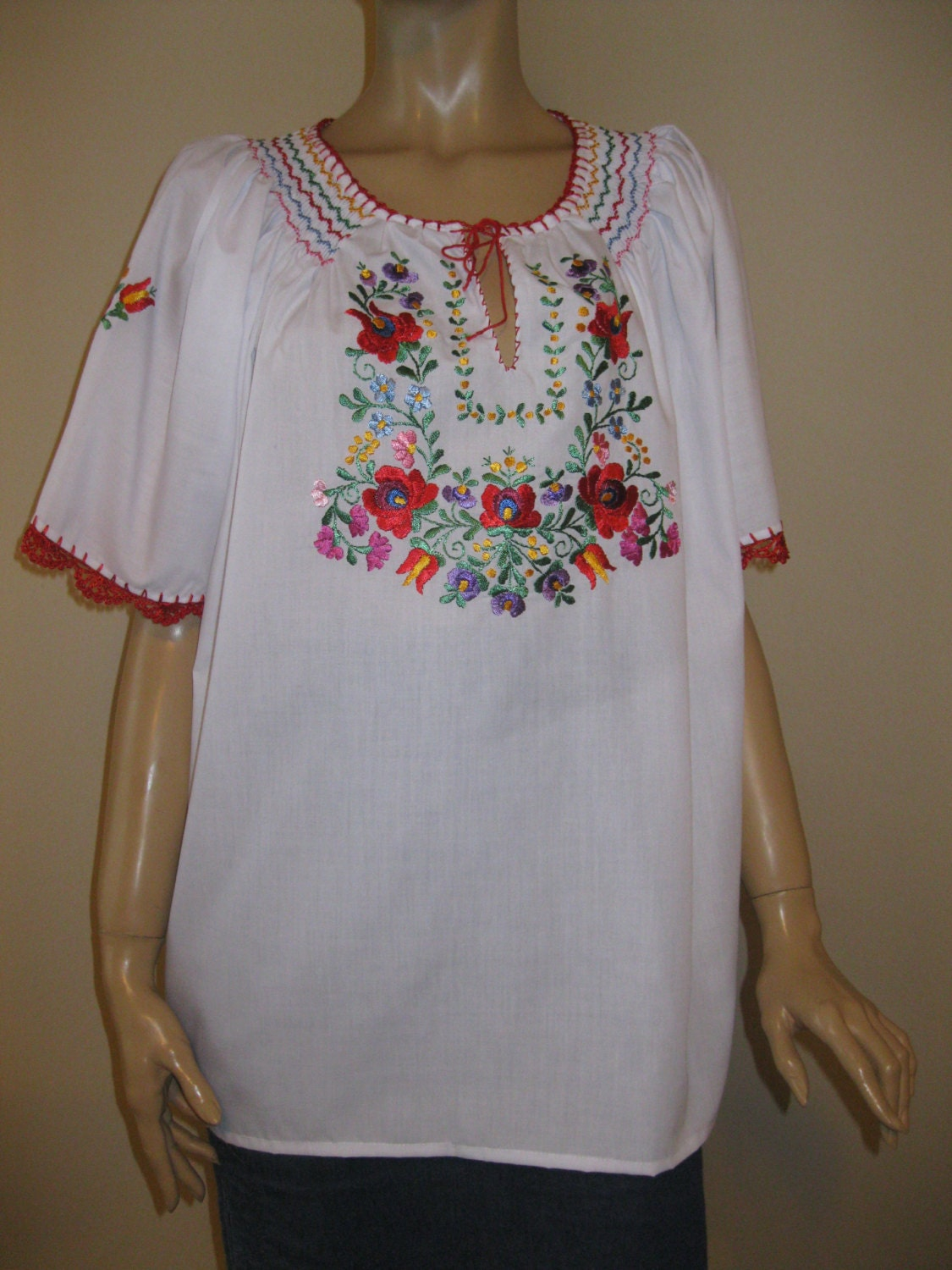 Hand embroidered hungarian matyo kalocsa blouse multicolored