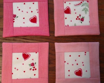 Valentine's Day Quilted Coasters Set of 4