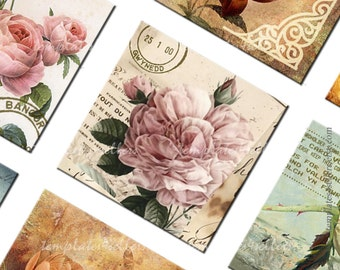 Digital Collage Sheet Vintage Roses 1x1 inch size Square images for Scrapbooking Pendants Jewelry making Printables  160