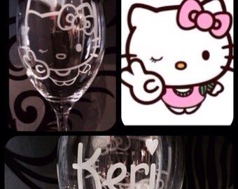 Personalised Hello Kitty Wine Glass With Free Name Engraving!