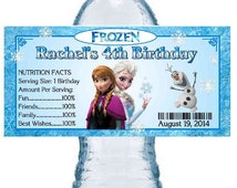 20 FROZEN BIRTHDAY PARTY water bottle labels ~ Anna and Elsa ~ glossy ~ waterproof ink