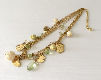 Vintage Multi Strand Charm Necklace Gold Tone Metal - Wedding, Bridal, Mother of the Bride, Bridesmaid